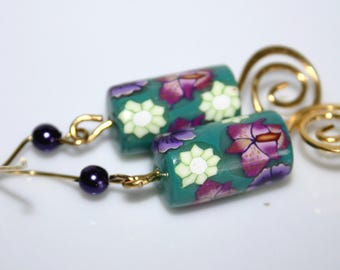 Earrings purple flowers polymer tube beads