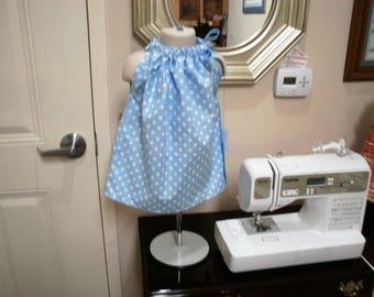 Blue and White Polka Dot Pillowcase Dress size 6 to 12 Months
