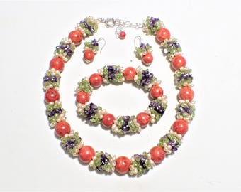 Apple Coral, Amethyst, Peridot, Genuine Pearls, Sterling Silver, Necklace, Stretch Bracelet, Pierced Earrings Set