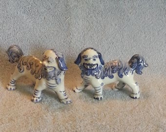 Asian Foo Dogs - A Pair - Blue and White