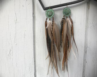 Patina Party Feather Earrings