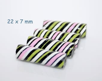 Polymer clay  beads / Striped tubes / Pink-Green-Black / Set of 4