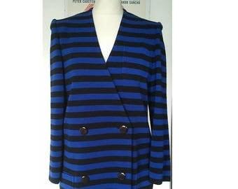 ON SALE RACINE Paris Vintage jacket over dress blue black stripes 1980 S M