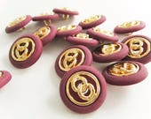 Plum and Gold Chain Link Buttons, Plastic Buttons, Vintage Buttons,Shank backing, button jewelry, sewing buttons, spring crafts, diy