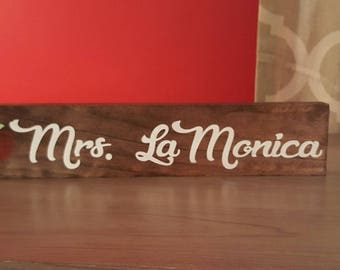 Back To School Teacher Gift Custom Name Sign