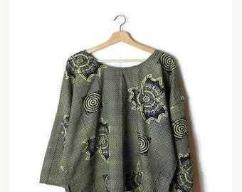 ON SALE Vintage Ethnic  pattern  Cotton Long sleeve Tunic from 80's*
