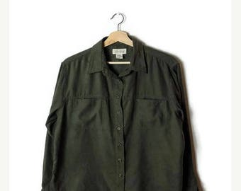 ON SALE Vintage Olive Green Long sleeve Blouse from 90's