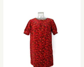 ON SALE Vintage Red Velour x Floral Printed Short sleeve Mini Dress from 1970's*