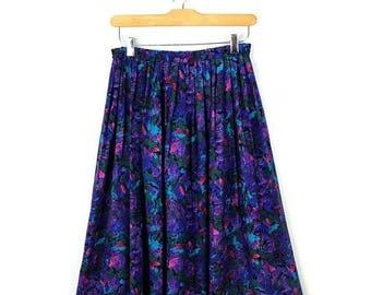 ON SALE Vintage Purple  Pleated Flare Skirt from 1980's/W23-32*