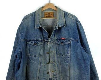 Damaged Wrangler Blue Denim Jacket /Jean Jacket  from 90's/3XL