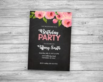 Birthday Invitation in Pink Peonies - Personalized Digital File