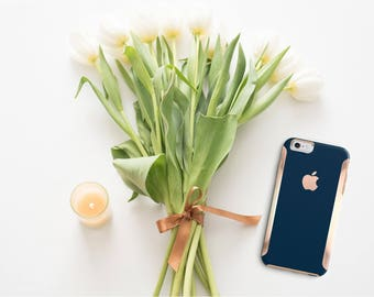 Navy Blue and Rose Gold Hard Case Otterbox Symmetry iPhone 6 / iPhone 7 / Galaxy S7 , Galaxy S8 , Galaxy S8 Plus - Platinum Edition