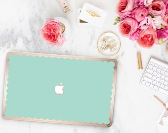 Mermaid and Scallop Rose Gold Edge Hybrid Hard Case for Apple Mac Air & Mac Retina , New Macbook 2016 - Platinum Edition