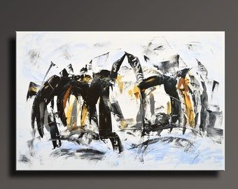 """48"""" Large ORIGINAL ABSTRACT White Yellow Gray Black Painting on Canvas Contemporary Abstract PENGUINS Modern Painting Wall Art Home Decor"""