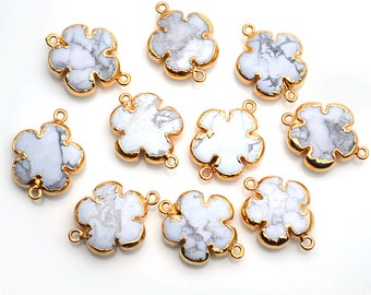 Flower Connector, Howlite Connector, Double Bail Gold Connector, White Howlite Connector, GemMartUSA (GPHW-50081)