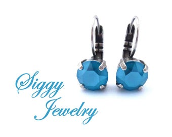 Swarovski® Crystal Earrings, 8mm Azure Blue Shiny Lacquer, Teal Ocean Blue Drops or Studs, Bridesmaids Gift, Assorted Finishes