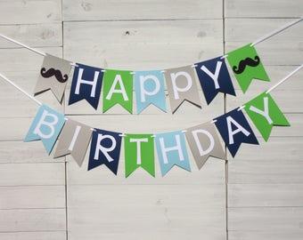 Mustache Happy Birthday Banner, Mustache Party, Mustache Decor, Boy Birthday