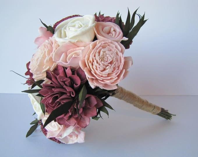 Burgundy and Blush Pink  Sola Flower Bridesmaid Bouquet, Bridesmaid Bouquet,  Sola Flower wedding bouquet, sola flower bouquet. Marsala