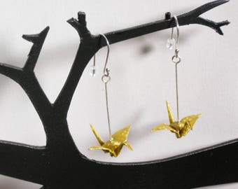 Miniature cranes earrings origami washi paper gilt frame