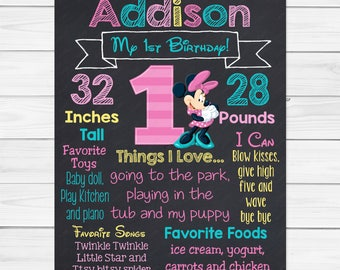 1st Birthday Minnie Mouse Birthday - Girl Chalkboard Custom Color Printable Poster - Digital File