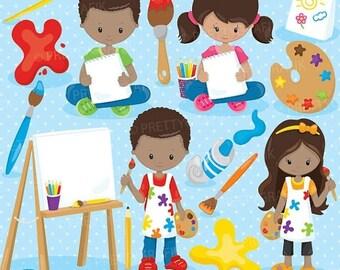 80% OFF SALE Little artists clipart commercial use, vector graphics, digital clip art, paint -CL915