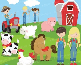 80% OFF SALE Farm animals and friends clipart commercial use, vector graphics, digital clip art, digital images  - CL614