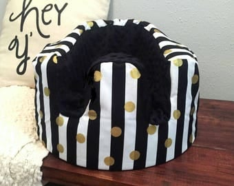 Black and White Stripe and Black Minky Bumbo Cover