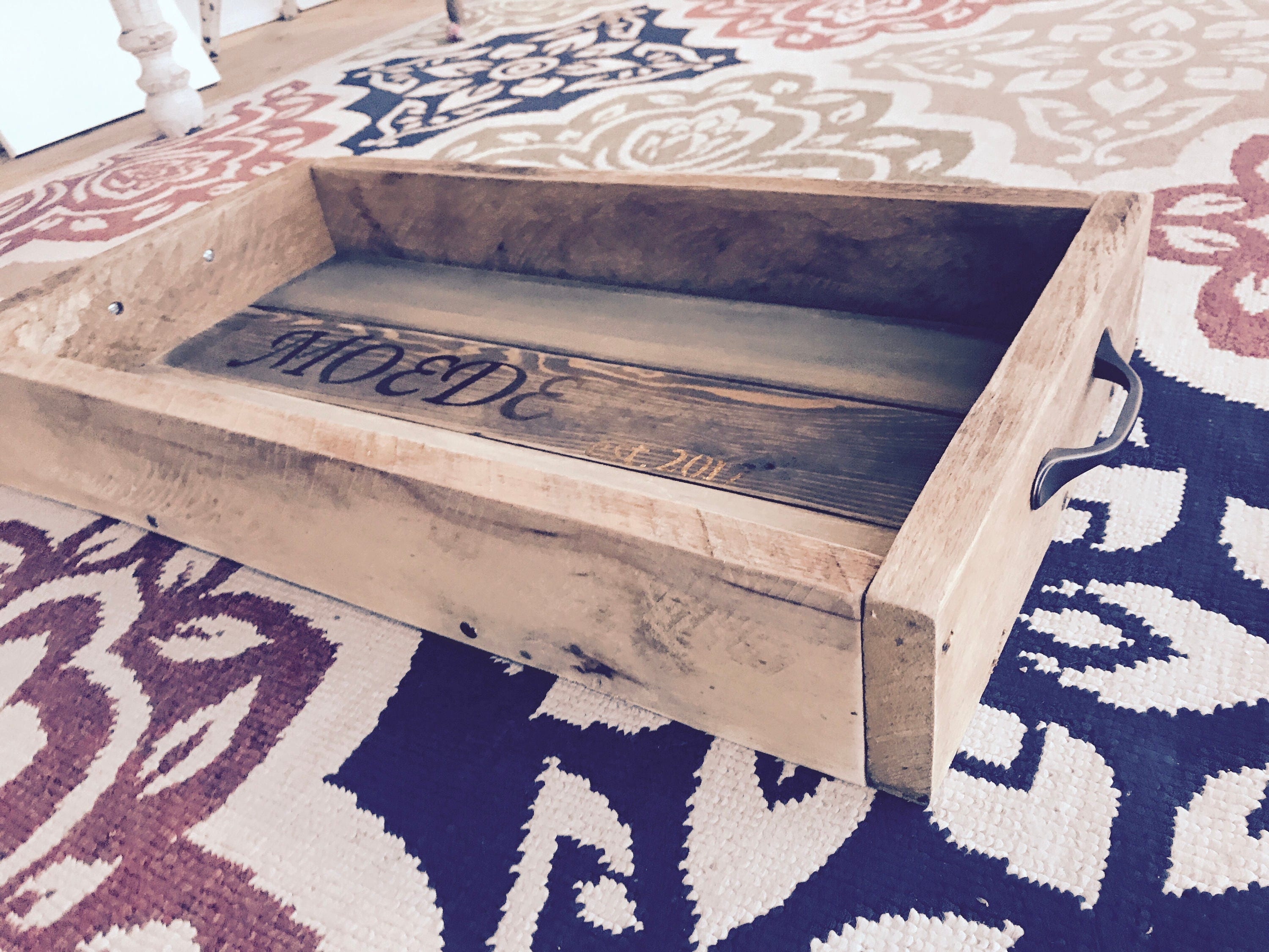 Personalized Gift Reclaimed Wood Serving Tray with Handles