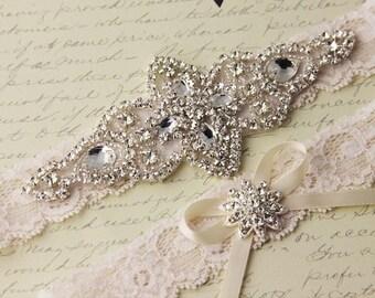 SUMMER SALE Ivory Lace Garter Set, Wedding Garter Set, Bridal garter Set, Rhinestone Garter, Ivory Garter set, White Lace Garter Set