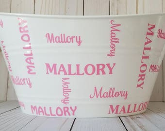 Personalized name Easter Basket, Toy Storage Bucket, Oval Tub
