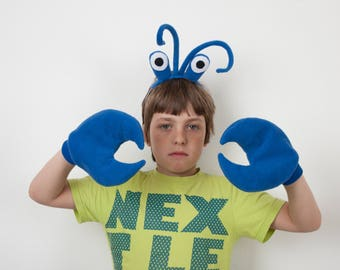 Blue Crab Eyes Headband and Crab Claws, Children's or Adult's Photo Prop, Pretend Play Blue
