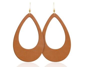 Leather earrings, tan leather teardrop cutout earrings, leather teardrop earrings