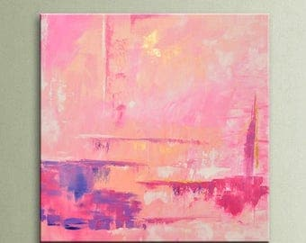 """ON SALE 32"""" Abstract painting original acrylic wall art large modern art decor Pink Gold Lavender White Original Square Painting  Wall Art A"""