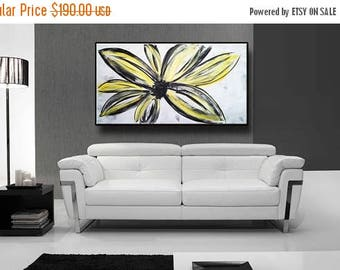 "48"" Yellow Flowers Black Gray White Original Abstract Acrylic Painting on Canvas Wall Art Home Decor UNSTRETCHED AUL086"