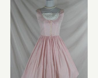 Summer sale 1950s 1960s  Kay Pink Cotton Plaid Vintage Cotton Full Skirt Party Dress W 22