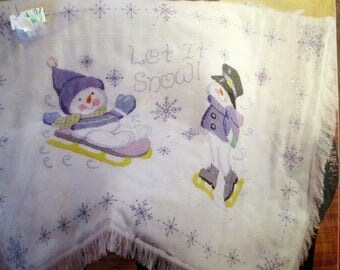 "2006 Janlynn ""Cheerful Snowman"" Baby afgan KIT Let it Snow 34"" x 44"" Unopened Christmas Gift Baby Afgan"