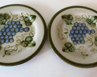 Two John B Taylor Vintage Olive Green Dinner Plates, Handpainted Ceramic, Stoneware, Louisville, KY, Mid Century