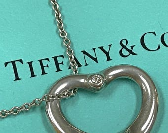Vintage Tiffany & Co. Elsa Peretti, Spain 925 Sterling Silver Necklace With Open Heart Pendant With Diamond !!!