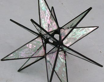 Stained Glass Medium Tree Topper, Iridescent Clear Glass, Moravian Star, Tree Top Decoration,  12 Point Star X'mas Tree Ornament, Gift