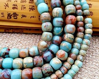 Nature agalmatolite, gemstone, semi precious, rondelle bead, barrel beads,figure stone, pagodite, jewelry supplies, components J0293