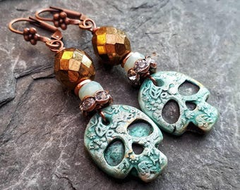 Sugar skull earrings, turquoise blue and bronze,  OOAK, party.