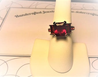 Lab Created Ruby Triple Stone Ring size 8