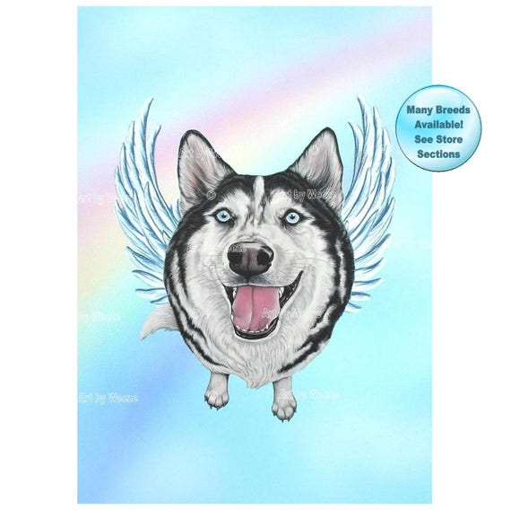 Siberian Husky Angel Husky Art Print Huskies Dog Angels