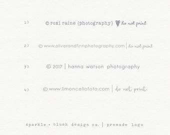 Premade Photography Logo Clean Simple Copyright Line Watermark Basic Classic Modern Design Photographers Bloggers Small Business Logo (e102)