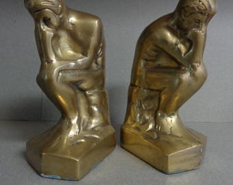 The Thinker pair of Brass Bookends 1928 Vintage Rodin Metal Book Ends Korea