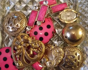 Vintage Pink and Gold Mix Baubles Jewelry Destash Inspiration Upcycle Mix Lot