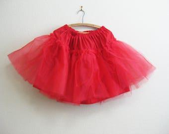 "Flouncy Red Tulle Skirt - Adjustable Waist to 38"" - Small Medium Large Skirt Tulle"