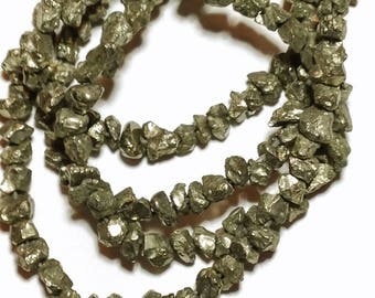 Golden pyrite rough nuggets.  Approx.  4x6mm   Select a strand length.