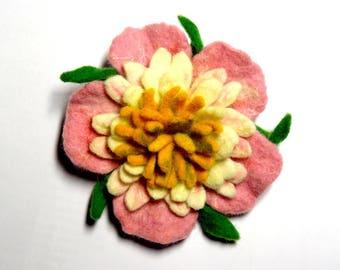 Brooch pin felted pink flower 100% wool N14