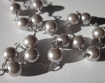 0.20 m chain silver metal trimmed glass (U10) beads